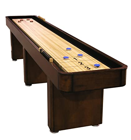 Superbe Fairview Game Rooms 12 Foot Shuffleboard Table With Hidden Storage Cabinet  In Chestnut Finish