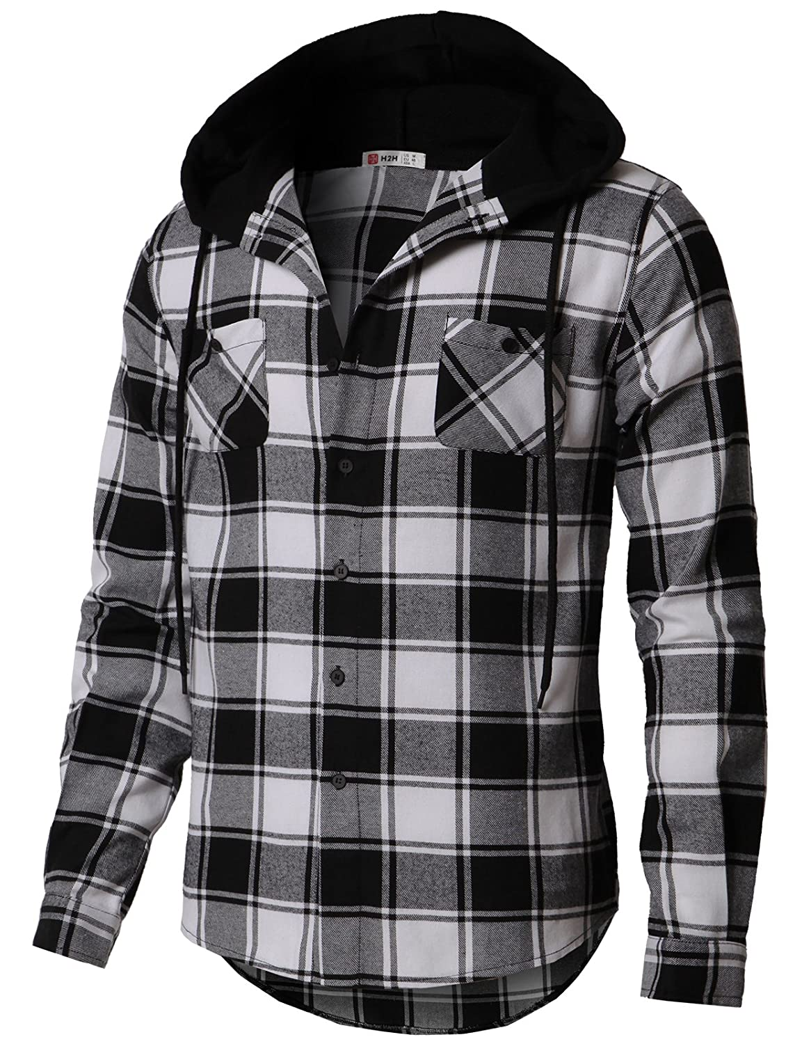 H2H Men's Flannel Plaid Checkered Long Sleeve Shirt Hoodie With Front Pockets #CMOJA0105