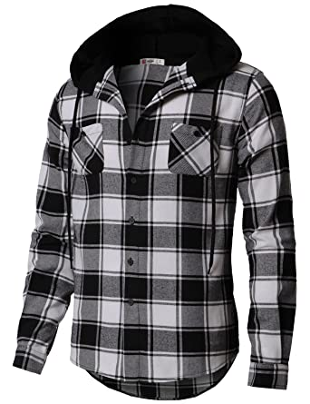 753b71660eaf H2H Men s Button Down Long Sleeve Plaid Flannel Shirt With Hood Black US  S Asia