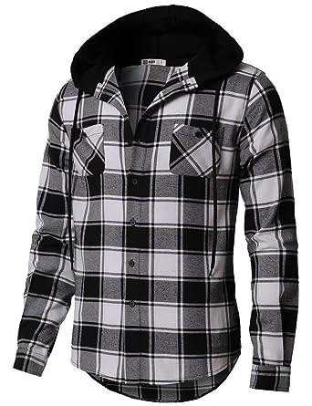 3f08ebd28ba406 H2H Men's Button Down Long Sleeve Plaid Flannel Shirt with Hood Black US  S/Asia