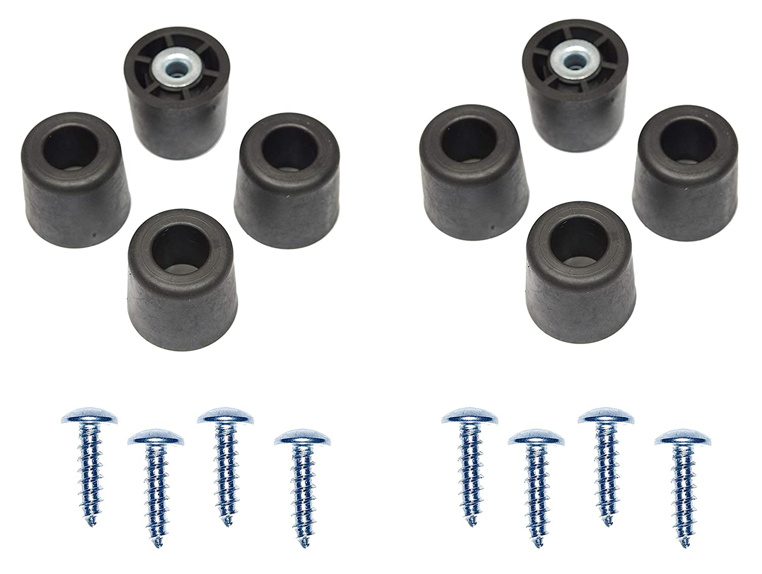 """8 Large Extra Tall #2 w/Screws - 1"""" H X 1.10"""" W Round Rubber FEET Bumpers - Made in USA Made in USA - Heavy Duty Non Marking for Furniture, Tables, Chairs, Desks, Benches."""