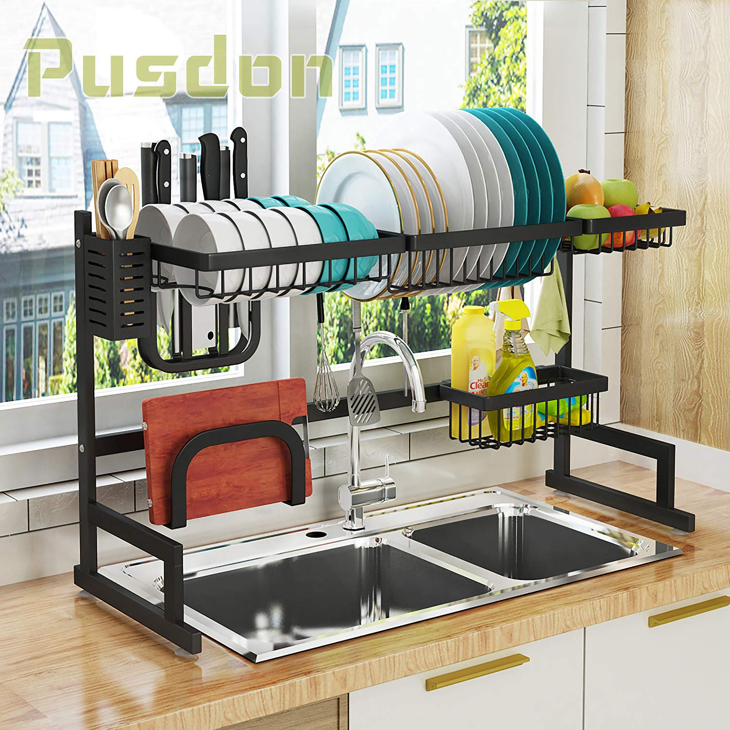 "Over Sink(32"") Dish Drying Rack, Drainer Shelf for Kitchen Supplies Storage Counter Organizer Utensils Holder Stainless Steel Display- Kitchen Space Save Must Have (Sink size ≤ 32 1/2 inch, black)"