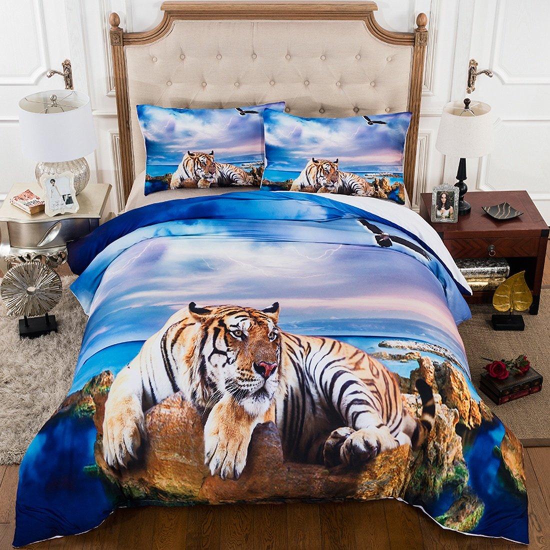 Cnspin 3D Strand Tiger Bettwäsche-Set Schlafzimmer Königin Größe 100% Mikrofaser Geschenk,3 Teilige Bettdecke mit 2 Kissenbezügen, 150X200Cm
