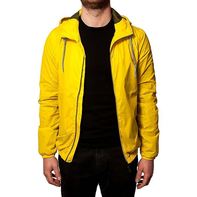 9f60efe3ed8d67 K way giubbotto uomo impermeabile giallo con cappuccio SLIM FIT Giubbino  leggero corto giacca a vento