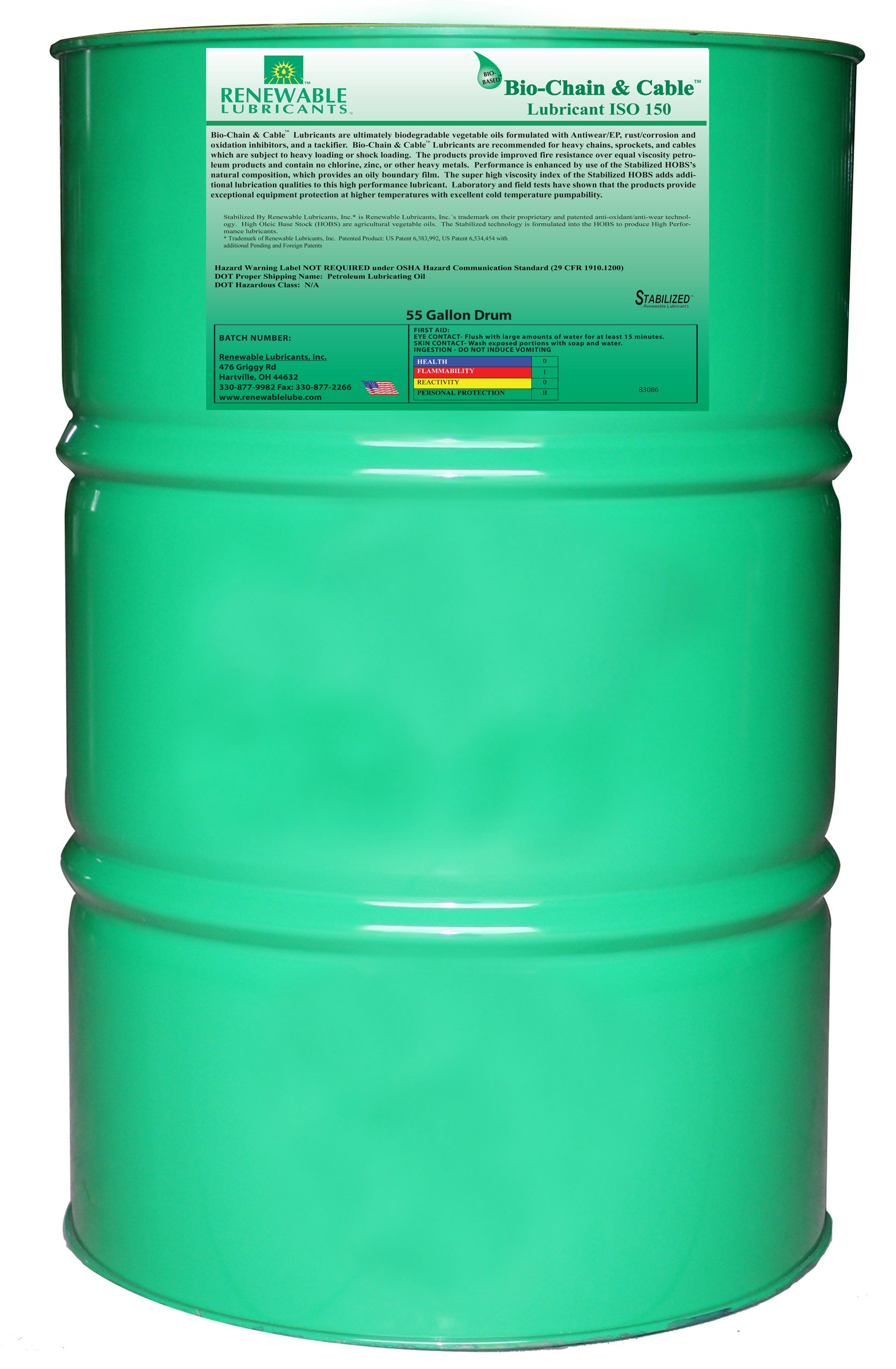Renewable Lubricants Bio-Chain and Cable ISO 150 Lubricant Oil, 55 Gallon Drum by Renewable Lubricants