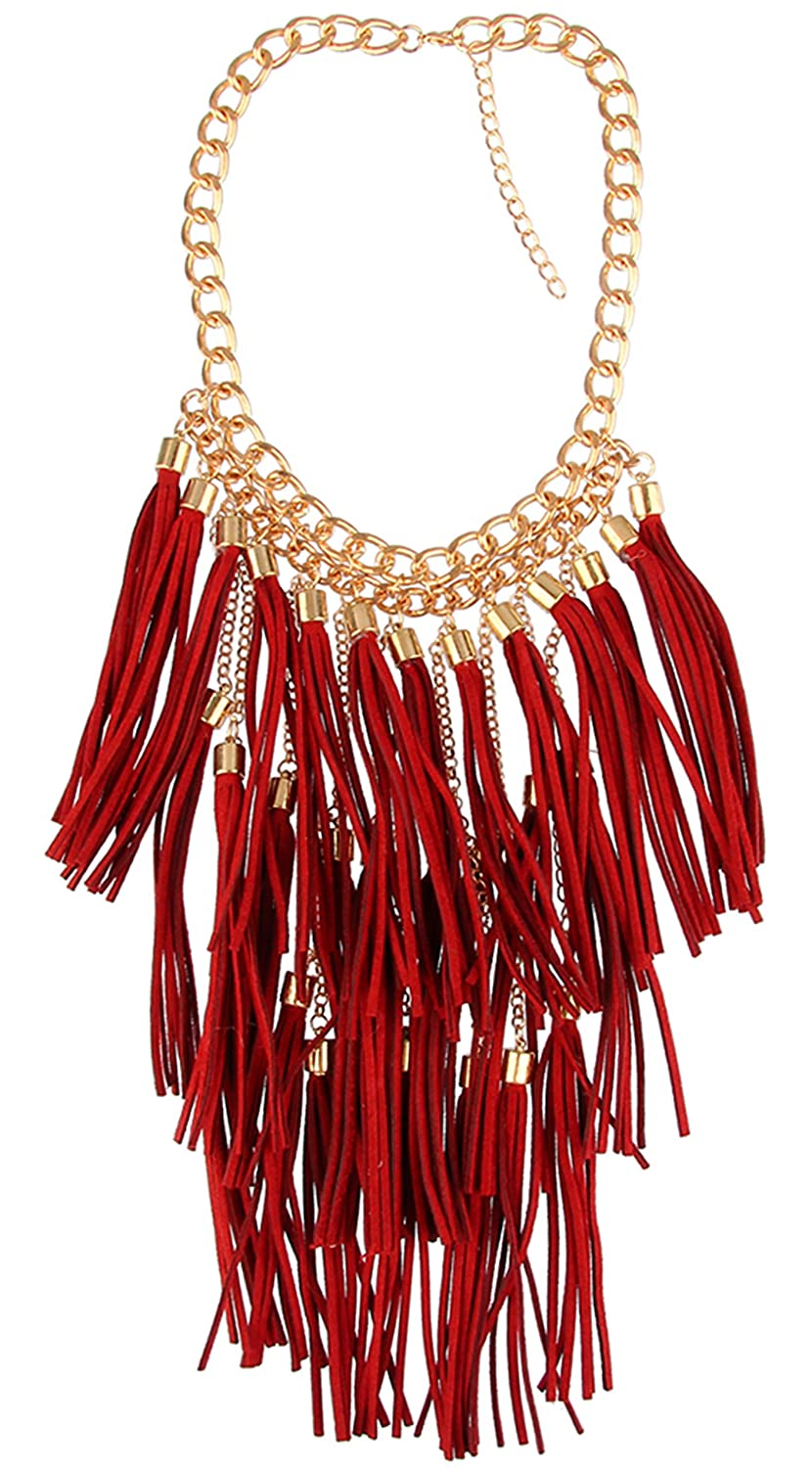 Bewish Womens Exaggerated Bohemian Boho Long Tassels Choker Fringe Statement Bib Necklace Collar Chunky (Brown/Red/Mixcolor)