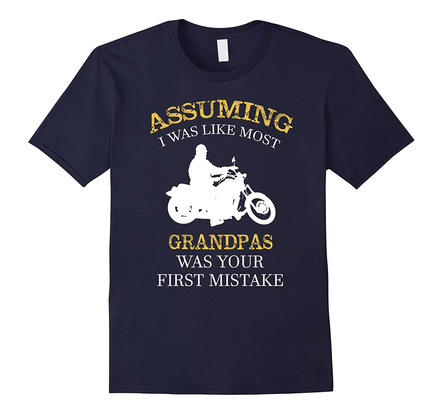 Mens 2017 Fathers Day Gift Awesome Biker Grandpa T-shirt-CD