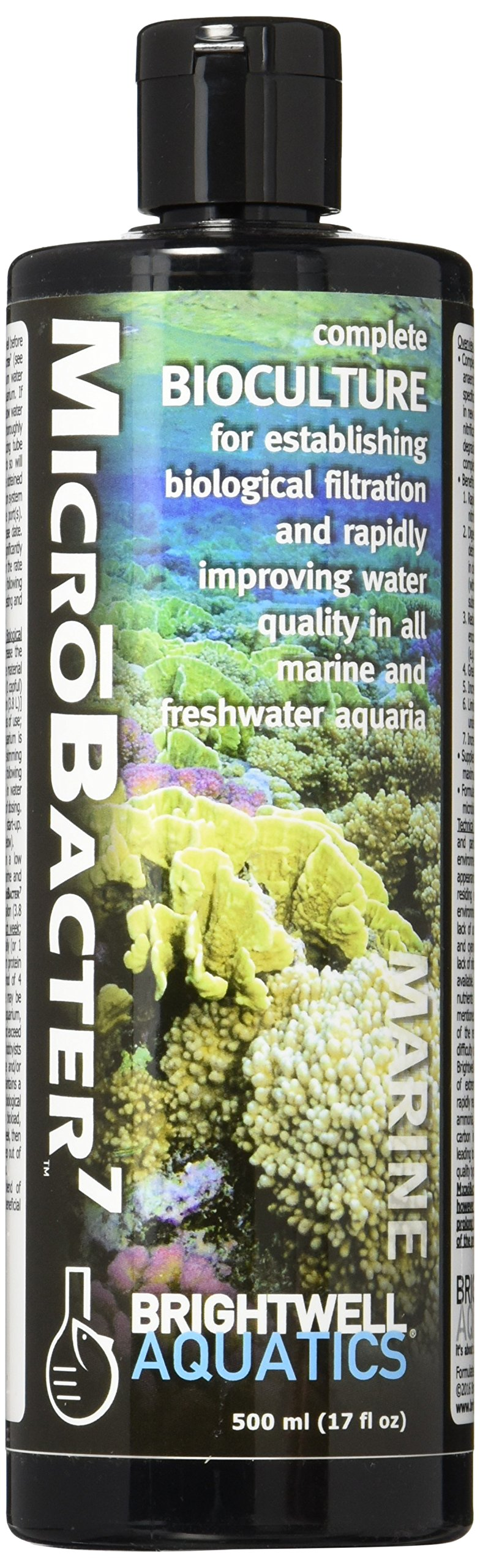 Brightwell Aquatics MicroBacter7 - Bacteria & Water Conditioner for Fish Tank or Aquarium, Populates Biological Filter Media for Saltwater and Freshwater Fish, 500ml