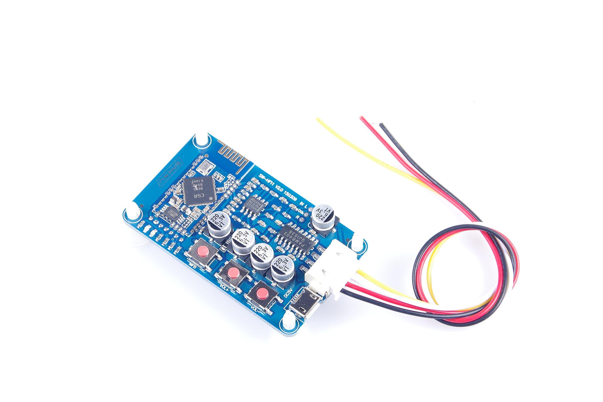 KNACRO Wireless Bluetooth 4.0 Audio Receiver Board Stereo Digital Amplifier Module Mini USB 5V