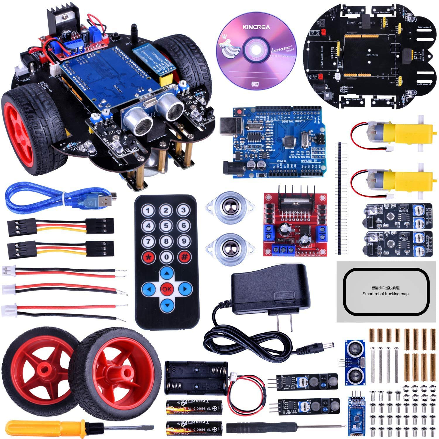 KINCREA Smart Robot Car Kit for Arduino with Line Tracking Module,Ultrasonic Sensor,IR Remote Control Module and Android Bluetooth APP Control