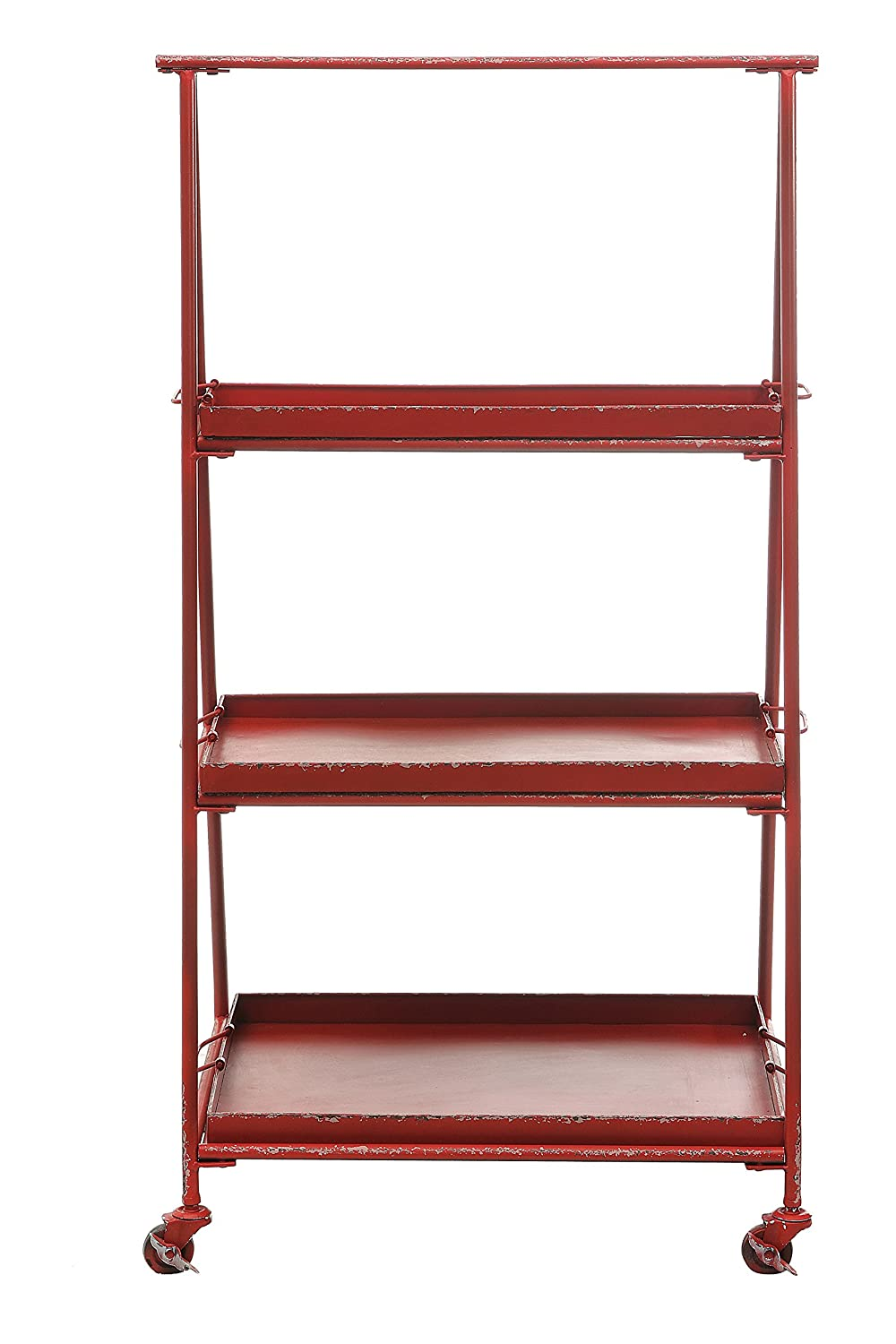 Brilliant Amazon Com Creative Co Op Red 3 Tier Metal Shelf On Caster Interior Design Ideas Clesiryabchikinfo
