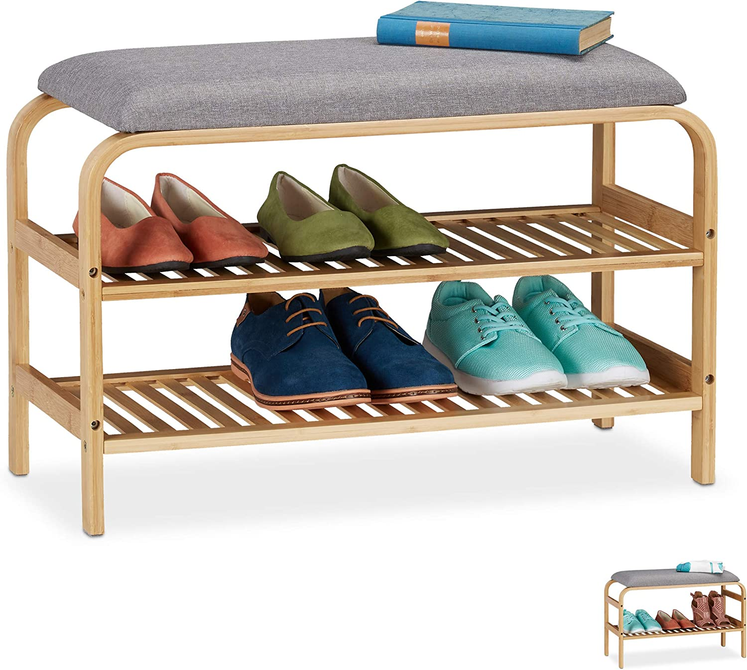 Relaxdays Bench 6 Pairs Padded Seat Hallway And Wardrobe Shoe Storage Hbt 46 X 69 X 30 Cm Natural 2 Compartments 1 Item Amazon Co Uk Kitchen Home