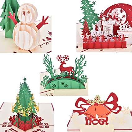 Amazon.com : Buytra 5 Pack Christmas Cards Set 3D Pop-up Greeting ...