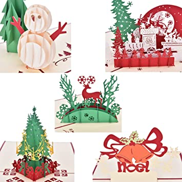 buytra 5 pack christmas cards set 3d pop up greeting card for xmasfestival