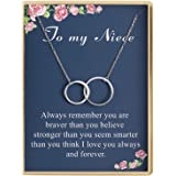 Birthday Gifts for Niece Delicate Two Interlocking Infinity Double Circles Sterling Silver To My Niece Necklace Birthday Gifts Women