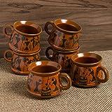 ExclusiveLane Warli Hand-Painted Ceramic Coffee Mugs Cum Serving Chai Tea Cups Set (Set of 6, Red Mud Brown)