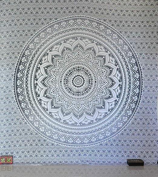 Tradicional tapiz de mandala indio, hippie, para colgar en la pared, colcha de algodón bohemio., algodón, Gris/plateado, Queen(84x90 Inches)(215x230 Cm): Amazon.es: Hogar