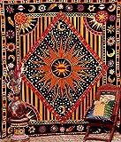 Handicrunch Golden Black Sun Star Tapestry Exotic Celestial Wall Art for Home