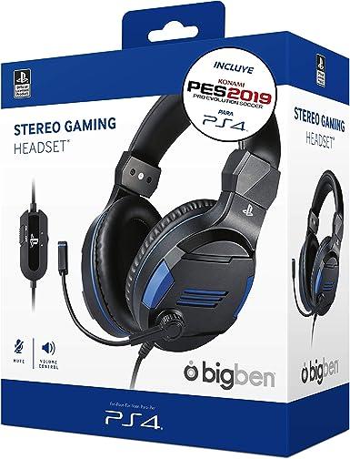 Sony Oficial - Auriculares Gaming Stereo, color negro + PES 2019 (PS4): Amazon.es: Videojuegos
