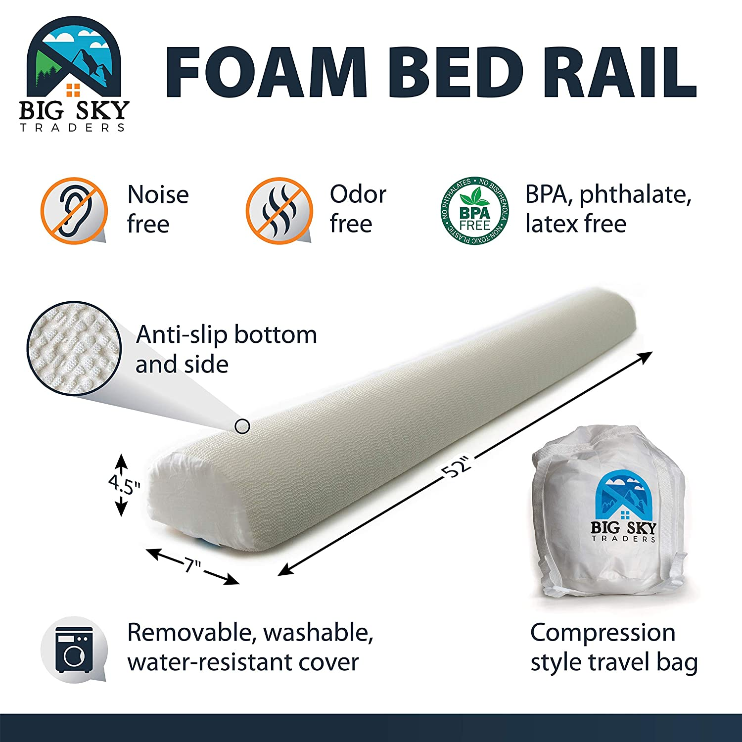 Bumper//Pillow Pad -Single Pack- for Baby Queen /& King Sleeping Child//Kid Transition to Twin Bed Guard Water-Resistant Washable Cover NO Bag Included Foam Toddler Safety Side Rail with Non-Slip