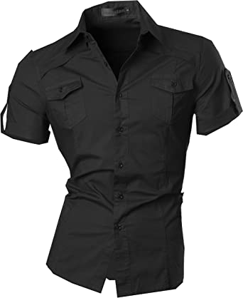 jeansian Camisa De Hombre De Manga Corta Moda Men Fashion Slim Fit Casual Short Sleeves Shirts 8360: Amazon.es: Ropa y accesorios