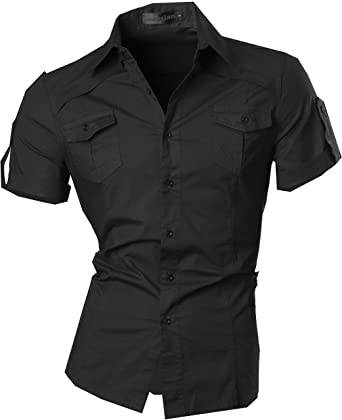 jeansian Men's Casual Slim Fit Short Sleeves Dress Shirts Tops ...