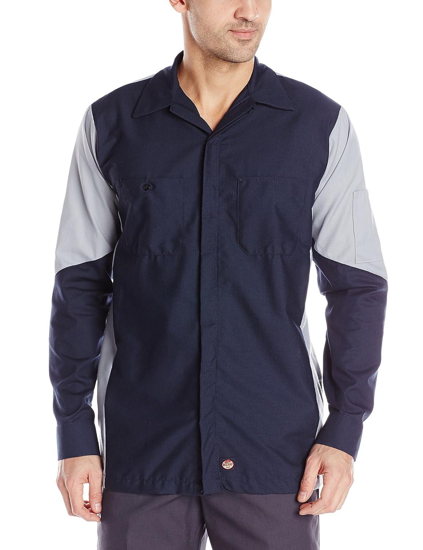 Red Kap メンズ長袖クルーシャツ B00DUDQGPM Long 2X-Large|ネイビー/グレー ネイビー/グレー Long 2X-Large