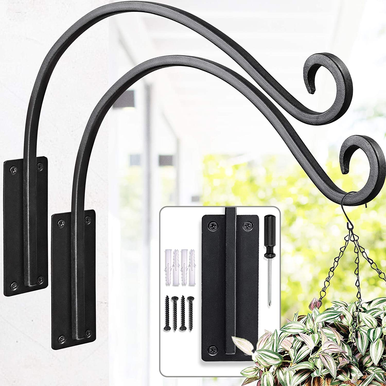 Bird Feeder Brackets (16 Inches / 2 Pieces) Outdoor Plant Hanger Bracket Heavy-Duty Sturdy and Durable Plant Hooks