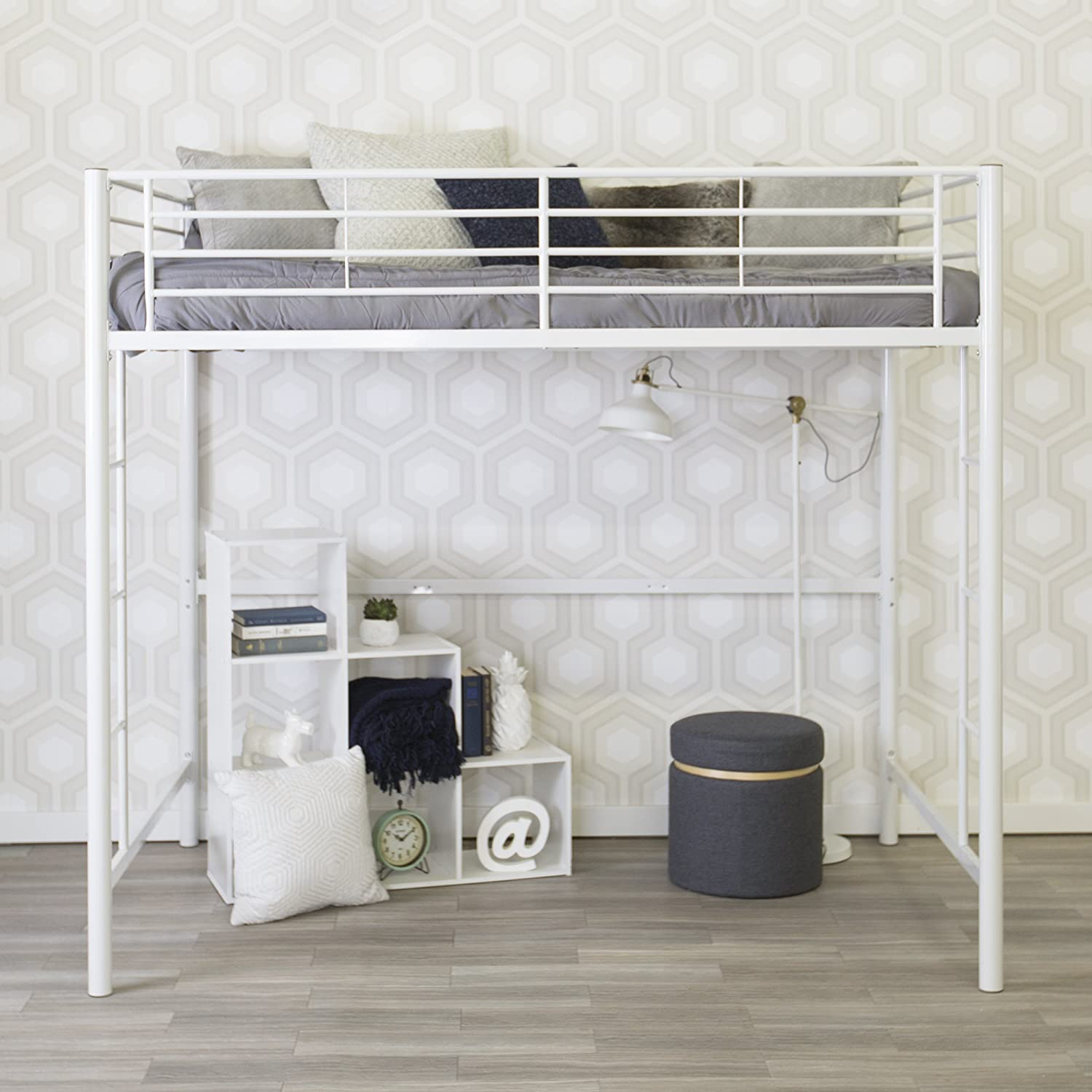 white bunk beds with a desk