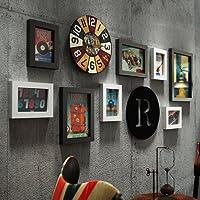 WAZY Photo frame collage Retro bar foto parete creativo portfolio foto cornice pvc decorazione della casa cornice Accessori per la casa 10 pezzi set (Colore : Nero+bianco)