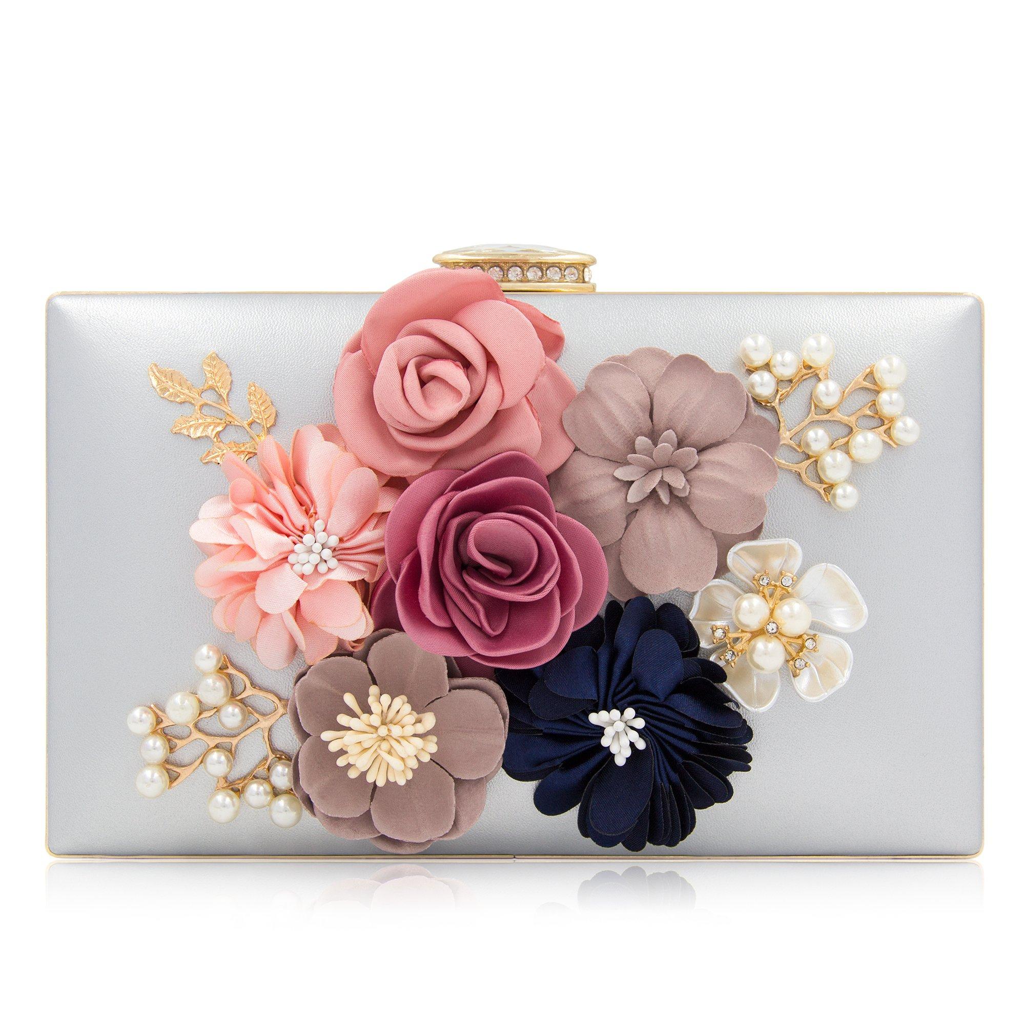 Milisente Women Flower Clutches Evening Bags Handbags Wedding Clutch Purse (Silver)