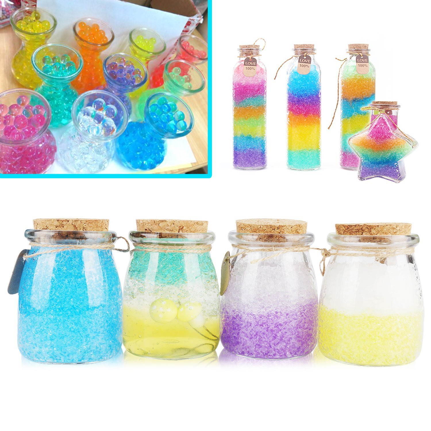 Hosim 18 Pack Water Beads Kid Tactile Sensory Toys Furniture Decorative Vase Filler and Wedding D/écor 9 Colors Magic Growing Jelly Pearls Balls for Spa Refill