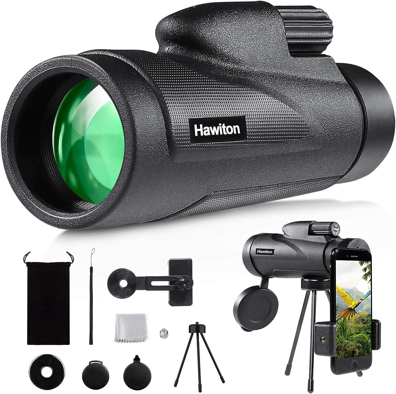 Hawiton Monocular Telescope High Power with Smartphone Holder & Tripod- 12X50 HD FMC Lens & BAK4 Prism Dual Focus Optics Zoom, Low-Light Night Vision Waterproof Monocular Binoculars for Bird Watching: Home Audio & Theater