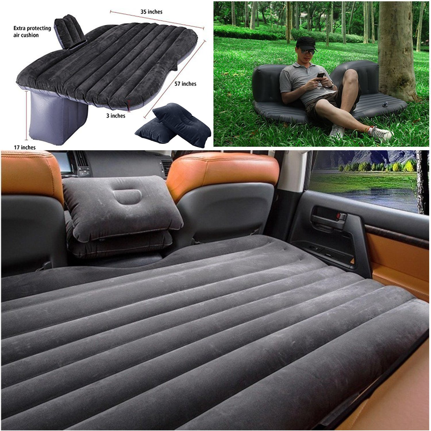 Backseat Inflatable Bed Lababe Car Travel Inflatable Mattress Inflatable Bed Camping Auto