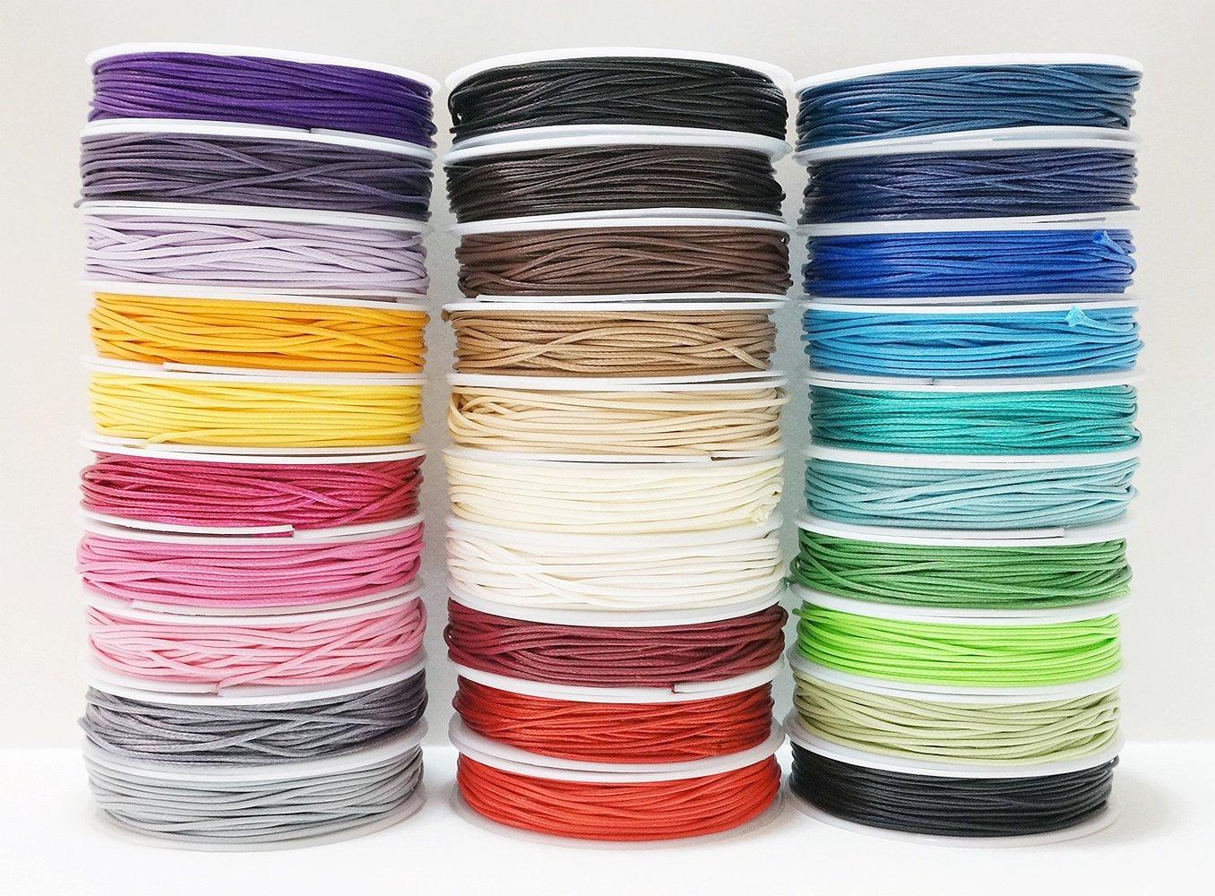 1mm Faux Imitation Leather Polyester Braided Cord Macrame Bracelet Artisan String (10 X 10yards Spool)