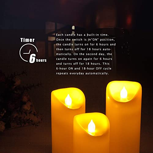 Outdoor Waterproof Flameless LED Pillar Candles with Timer Battery Operated Flickering Resin Candle Lights for Halloween Christmas Home Wedding Party Centerpiece Decorations Supplies 3 x 7 2-Pack