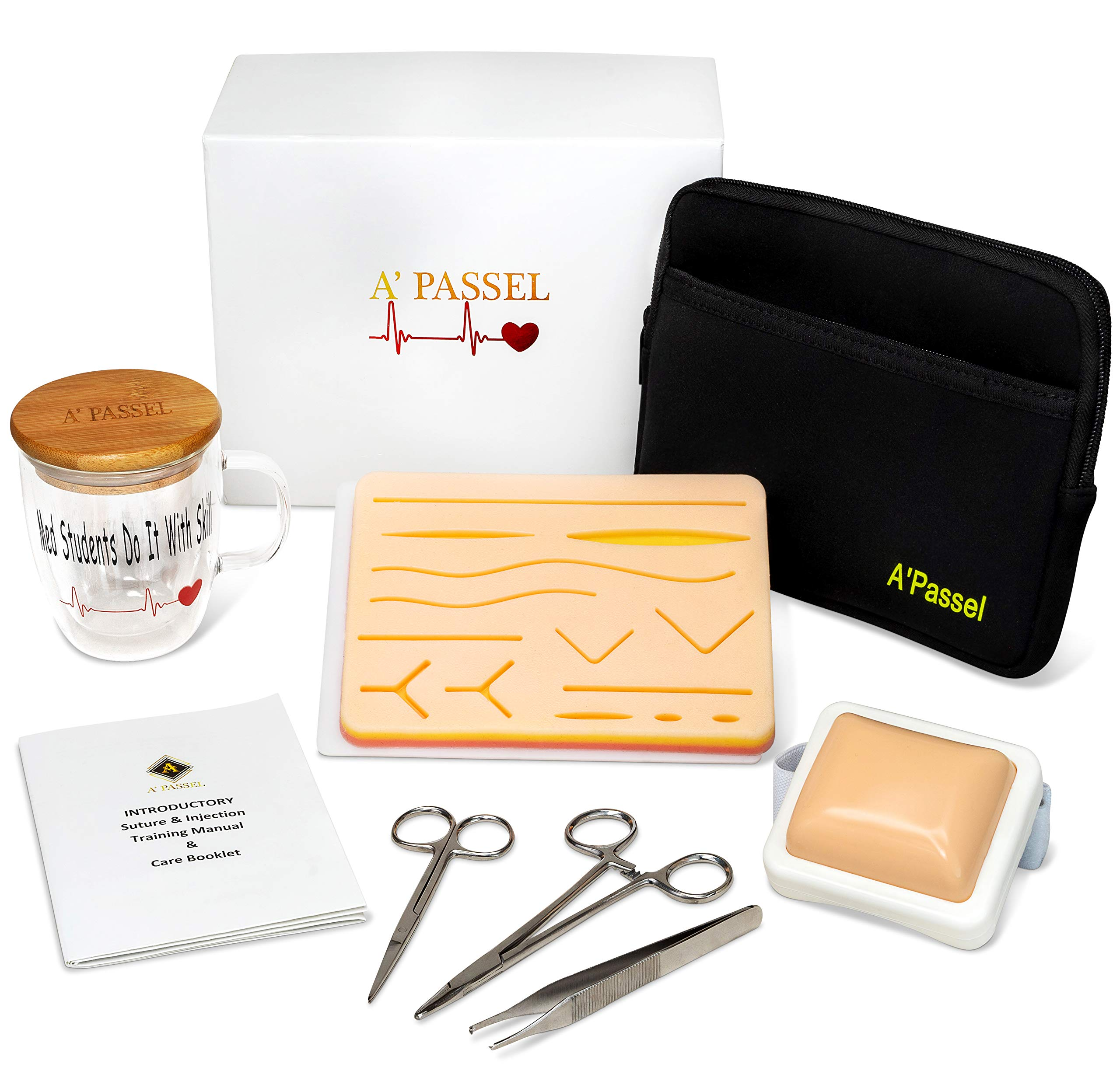Suture Practice Kit Includes Injection and Suturing Pad Gift Boxed for Medical Nurse Surgical Dental or Veterinary Student - German Steel Skin Wound Training Tools Set - Carry Case Bonus Coffee Mug by A'Passel