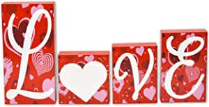 Wooden Love Blocks Gift Tabletop Decorations 4 Piece Set for Home Accent Red Pink White Heart Shape Design Romantic Sign Happy Valentine's Day Table Topper Centerpiece Desk Shelf Display Party Decor