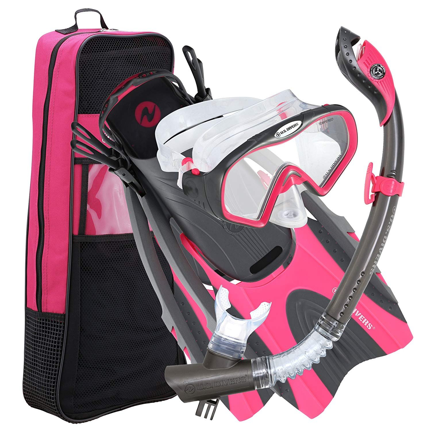 U.S. Divers Pro LX+ Snorkel Set with Starbuck Iii LX Purge Mask, Small/Medium 4-8.5, Gun Metal Pink by U.S. Divers
