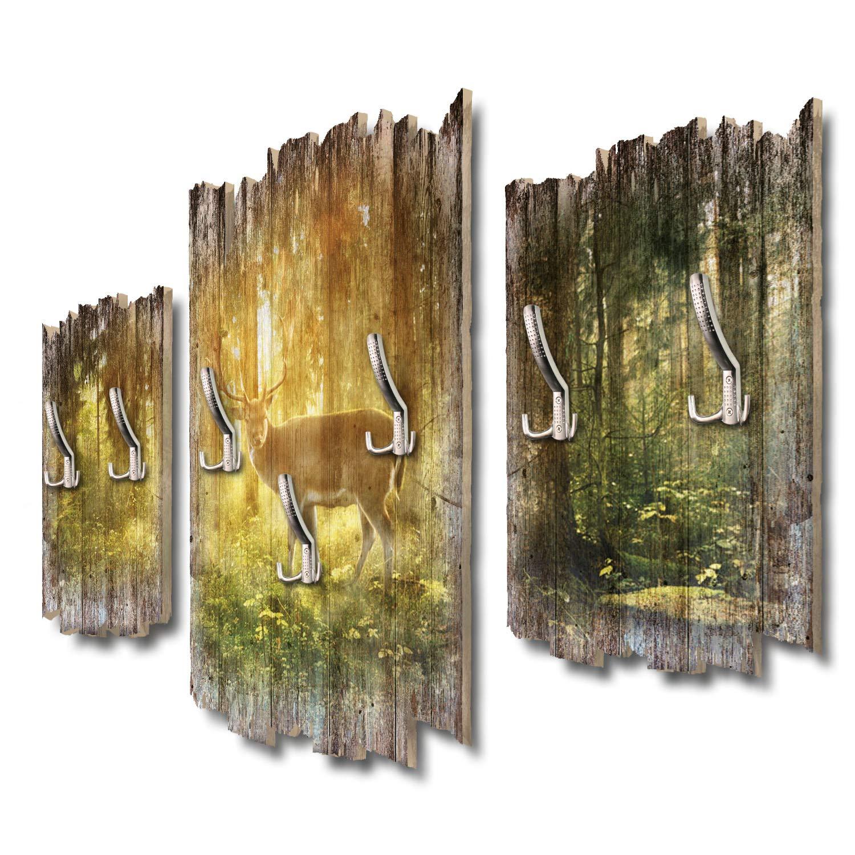 Kreative Feder Hirsch Designer Wandgarderobe Flurgarderobe Wandpaneele 95 x 60 cm aus MDF DTGH063