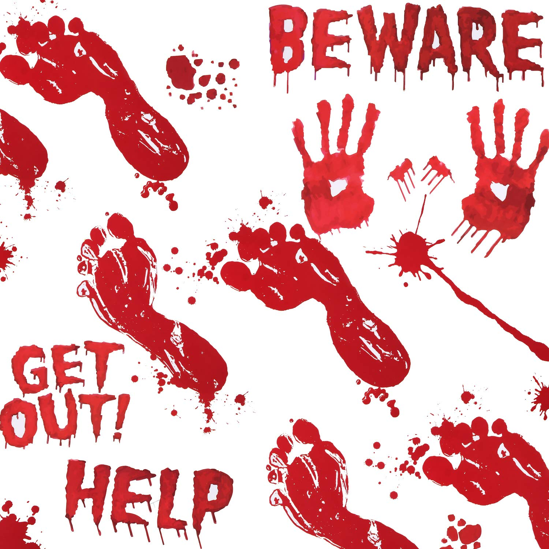 Jovitec 8 Sheets Halloween Bloody Handprints Footprints Window Clings Decals Halloween Vampire Zombie Party Decals Decorations Supplies