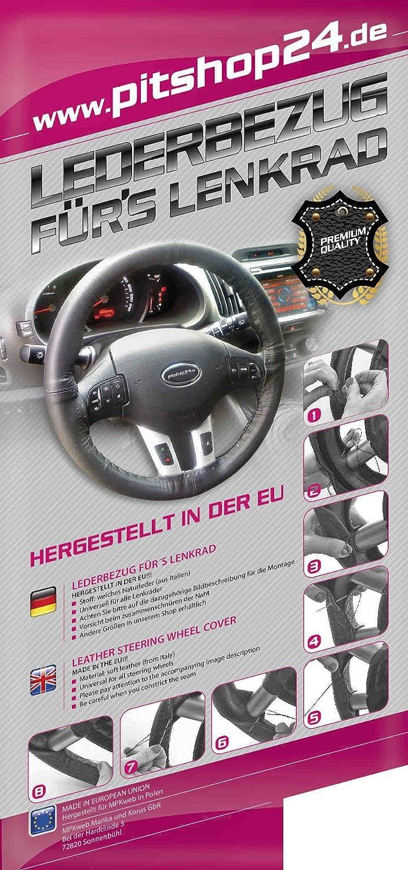 Lenkradschoner Lenkradh/ülle Lenkradbezug echt Leder Gr/ö/ße L /Ø 39-40 cm GRAU