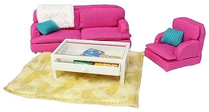 c1d34206672b Amazon.com: Lundby Smaland Dollhouse Sitting Room Set, Pink: Toys ...