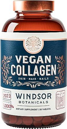 Vegan Collagen Builder Tablets by Windsor Botanicals - Non-GMO, Vegetarian, Plant-Based Supplement - Strengthens Skin, Hair, Nails and Joints - 30 Tablets