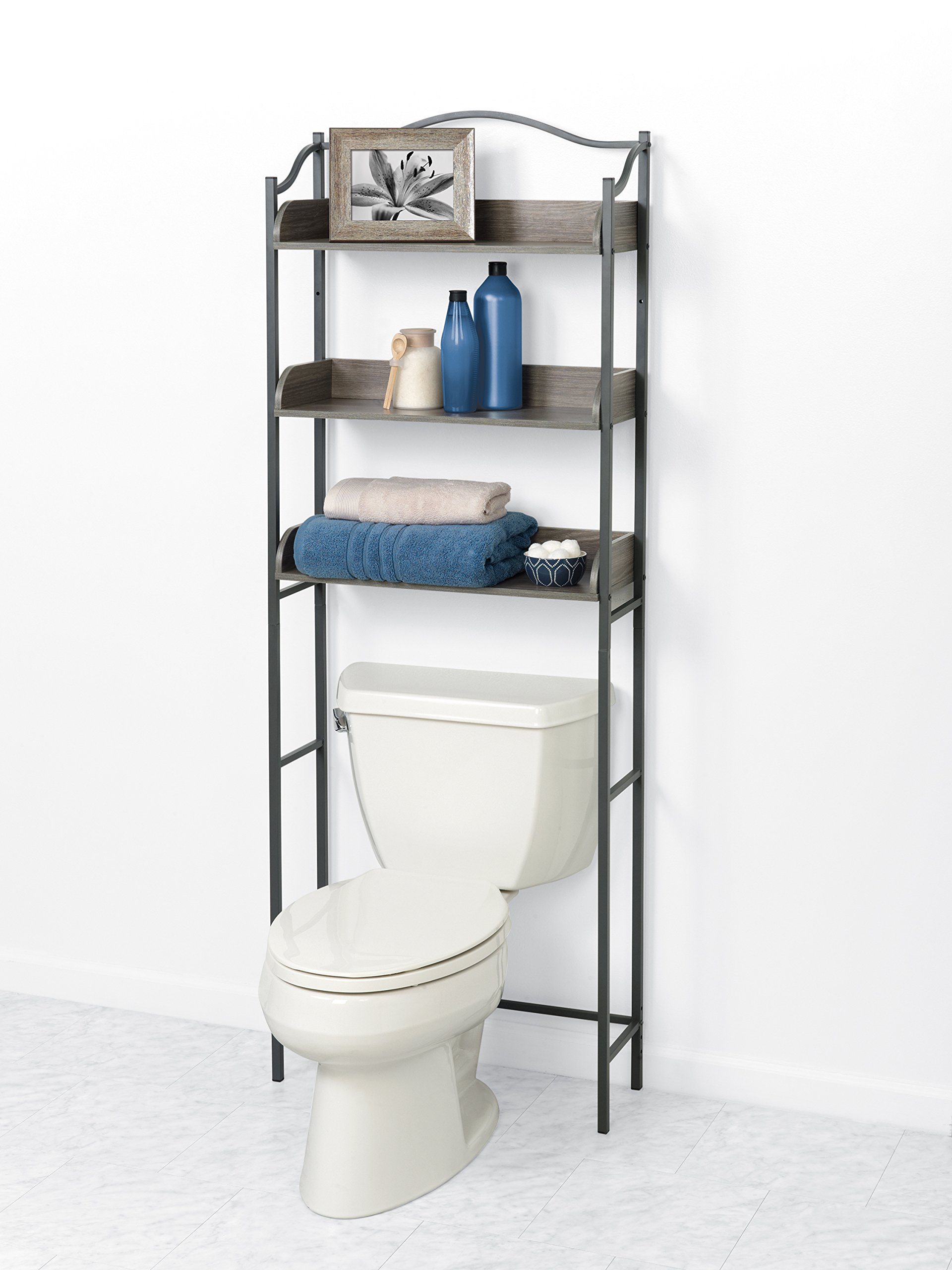 Zenna Home 3-Tier Over-the-Toilet Bathroom Spacesaver, Driftwood Grey/Pewter by Zenna Home (Image #2)