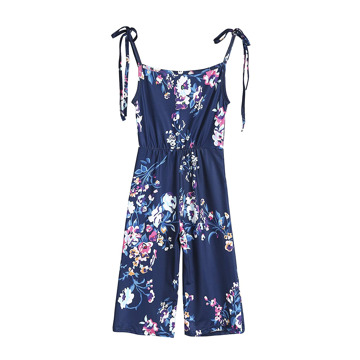 Loalirando Summer Boho Sleeveless Mommy and Me Floral Print Jumpsuit Family Matching Casual Outfits Off Shoulder Romper with Wide Legs