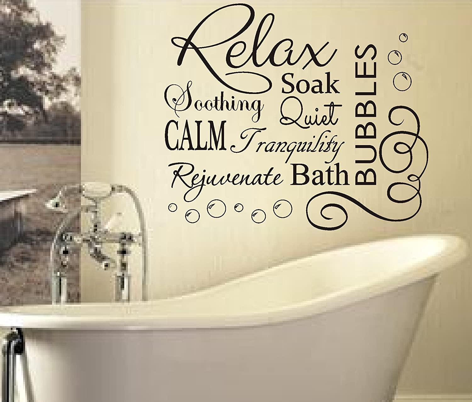 Bathroom wall art stickers - Relax Soak Bubbles Bath Ar Quote Wall Art Sticker Decal Vinyl Diy Home Bathroom Black 76x65cm Amazon Co Uk Kitchen Home