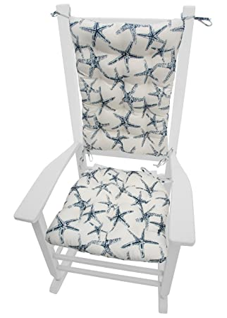 Sea Shore Starfish Navy Indoor / Outdoor Rocking Chair Cushions   Latex  Foam Fill, Made