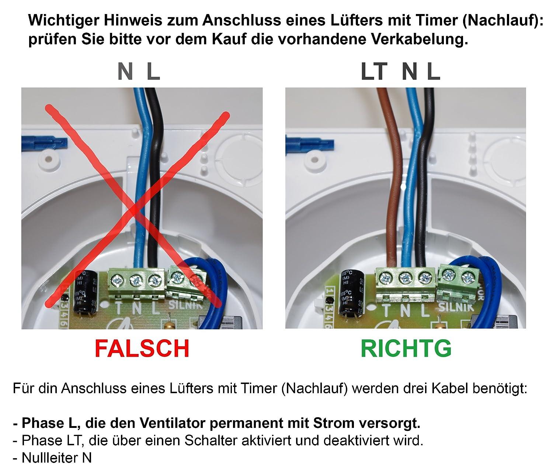 Silent + Feuchtesensor KOLOR Badl/üfter Wand-Ventilator /Ø 100 mit Feuchtesensor Timer Kugellager Silent