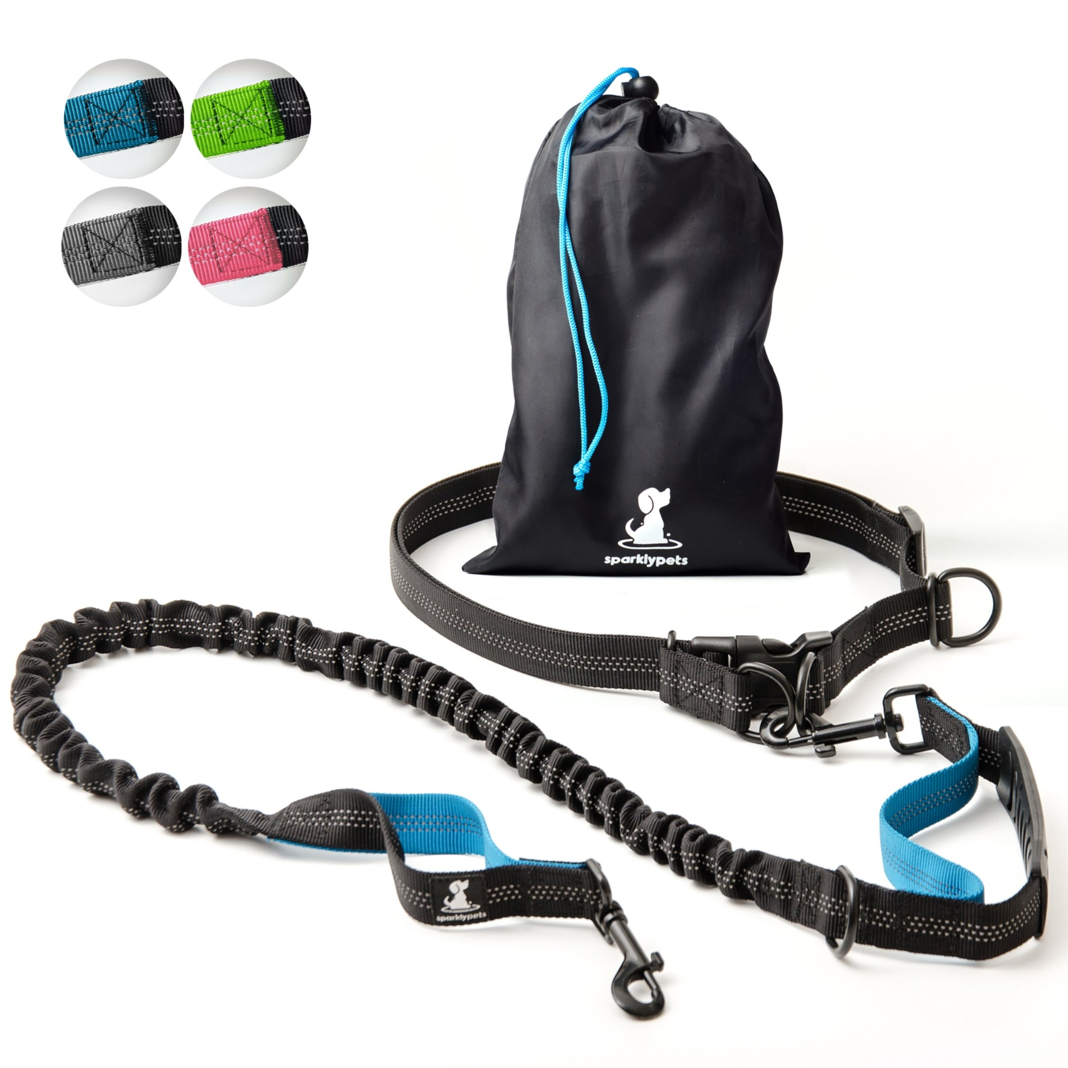 SparklyPets Hands-Free Dog Leash for Medium and Large Dogs - Professional Harness with Reflective Stitches for Training, Walking, Jogging and Running Your Pet (Blue) by SparklyPets